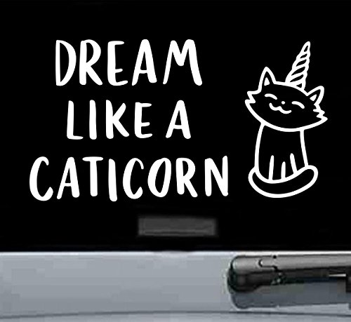 JS Artworks Dream Like a Caticorn Vinyl Decal Sticker (White) from JS Artworks