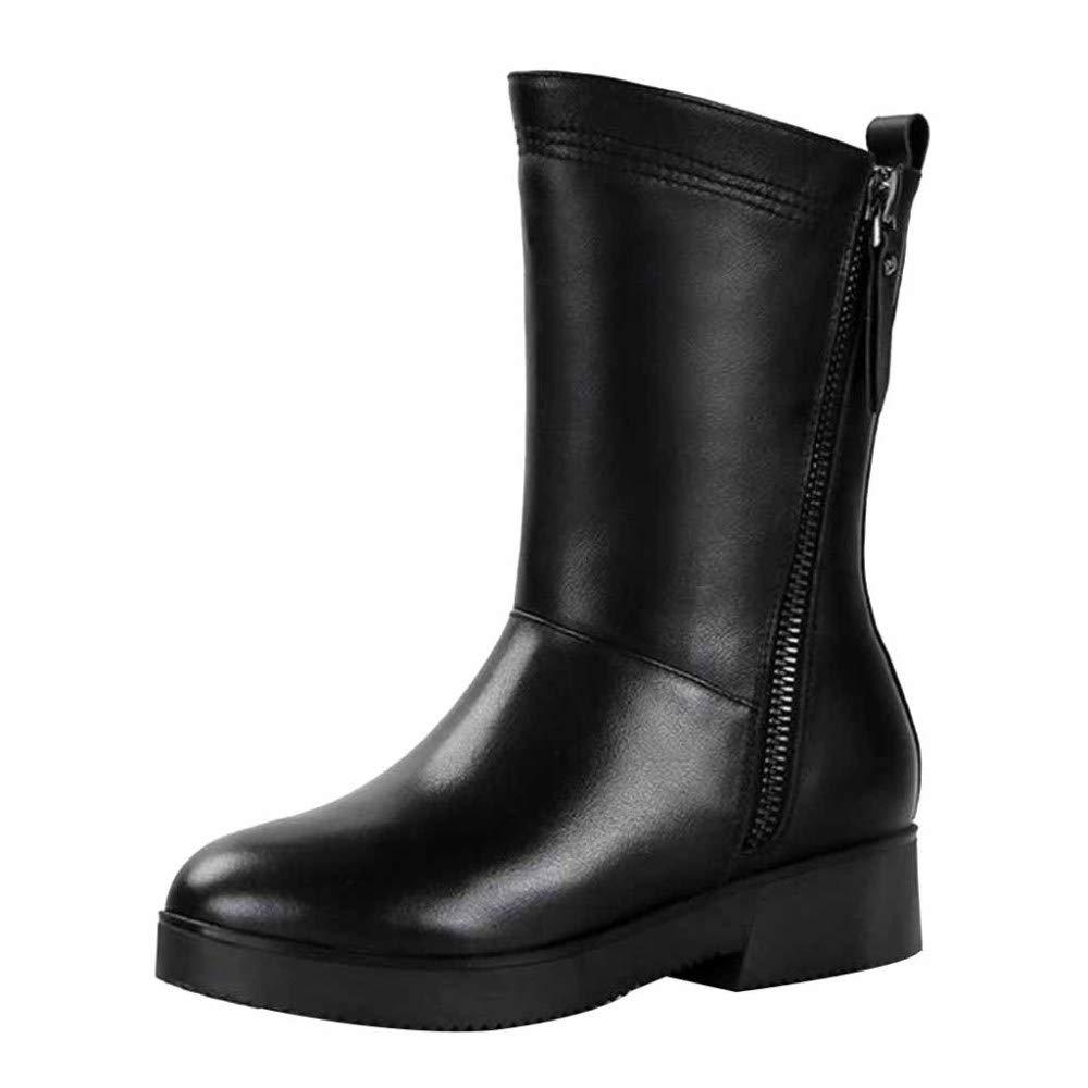 Damen Damen Martin Stiefel Winter Leder Pelz Gefüttert Knöchel Flache Unterseite Doppel Reißverschlüsse Sport Outdoor Schuhe