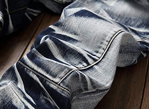 Los Fit Mezclilla De Pantalones Ropa Pantalones Sin Pantalones Pretina Media Slim De De De Ocio Pantalones Destruidos Hombres Moda Bluewhite Mezclilla Retro De De Cintura Vaqueros Rectos aH5wRqt