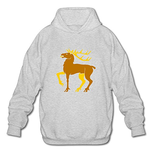 Gzhouqube Men's Christmas Elk Tops Casual Hat Without Pocket Hoodies Sweatshirt Tops Blouse M Ash