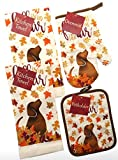 Fall is in The Air Kitchen Towel Set with Dog and Glitter. Bundle of 4 Includes 2 Towels, 1 Oven Mitt and 1 Pot Holder. Fall Kitchen Towels Set.