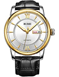 BUREI Mens Classic Wrist Automatic Watches with Elegant Dial Datejust Scratch Resistant Window Leather Strap