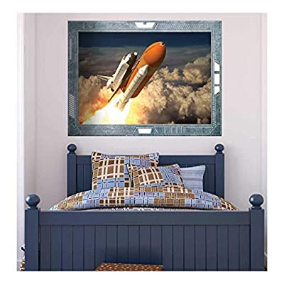Marvelous Composition, Science Fiction ViewPort Decal The Space Shuttle Launching on a Mission Wall Mural, Premium Product