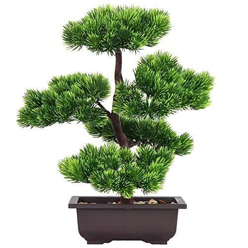 Aisamco Bonsai artificial Decoracion de plantas falsas Plantas artificiales en macetas Plantas de bonsai de pino japones 33 cm de altura para la decoracion del hogar Pantalla de escritorio