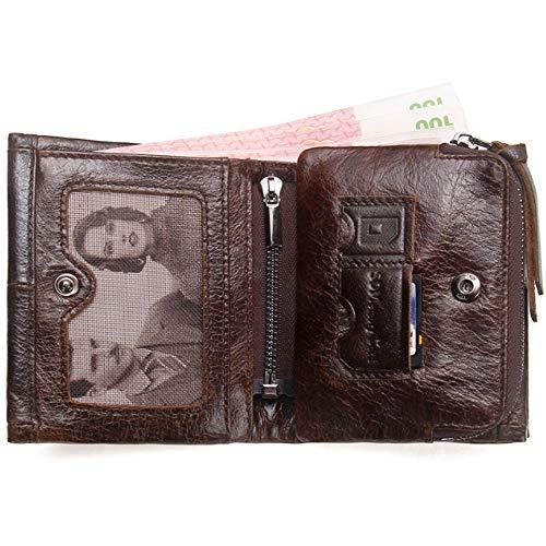 Trésorerie Porte Cuir Crazy Portefeuille fonction Triple Pli Brown Multi monnaie Homme Paquet Hinyyee Bourse Horse Amovible De nFSwx77d