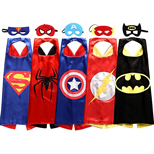 [Sholin Superhero Cape and Mask Costumes for Kids, Set of 5] (Hero Costumes For Men)