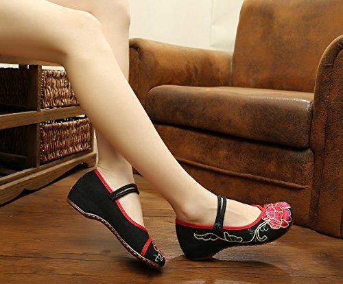 aumento bordados moda WXT zapatos dentro estilo Zapatos femenina tela tendón cómodo Black casual del de lenguado del étnico HqBaxgA