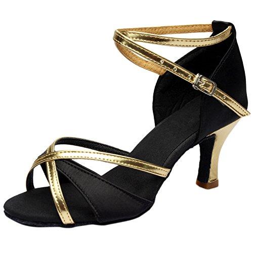 Azbro Mujer Zapato de Baile Latín de Tacón Alto Correa Cruzada con Puntera Abierta Negro