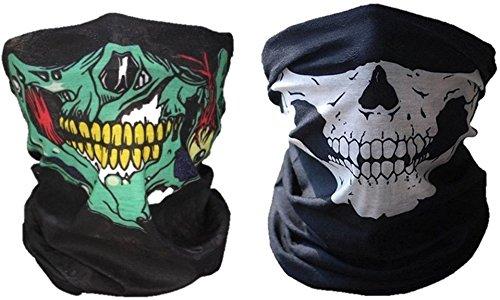 Skull Mask 2 pack, seamless skull face tube masks (Green/White)