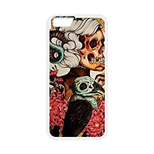 [Skeleton Arts] skull flower tatoo Case Cover For SamSung Galaxy S6 {White}