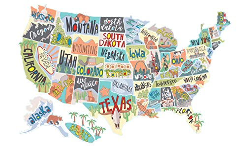(US States Map Travel Tracker Sticker Set | United States Adventure Decals for RVs Motorhomes and Campers | Large (22 x 13 inches) | Road Trip States Visited USA | Peel and Stick Vinyl North America)