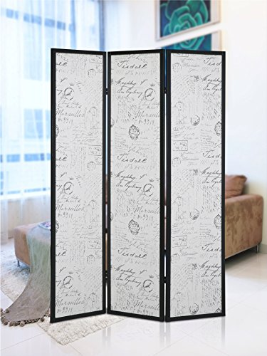 Roundhill Furniture Botticelli 3 Panels Screen Room Divider with English Script Print