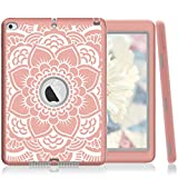 iPad Air 2 Case,PIXIU [Shockproof][Drop Protection][Heavy Duty] Rugged Three-Layer Defender best cases for iPad air 2(Rose Golden/Grey)