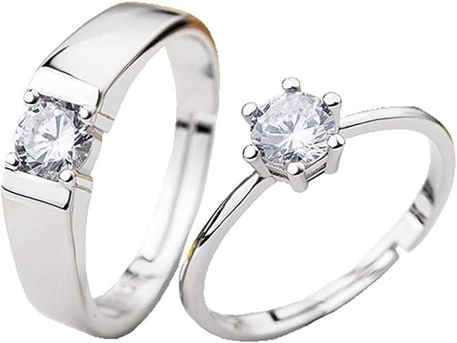 925 Sterling Silver Anillo Corazón Estrella De Cristal Estilo de doble capa para mujeres tamaño Q