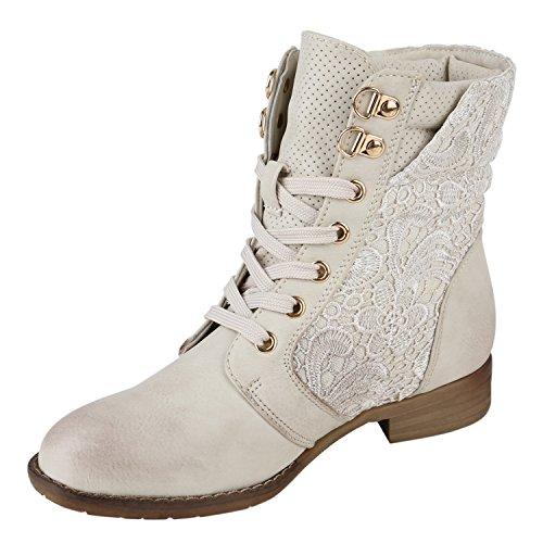 Stiefelparadies Damen Schnürstiefeletten Stiefeletten Worker Boots Kurzschaft-Stiefel Spitzenstoff Leder-Optik Schuhe Zipper Flandell Creme Zipper
