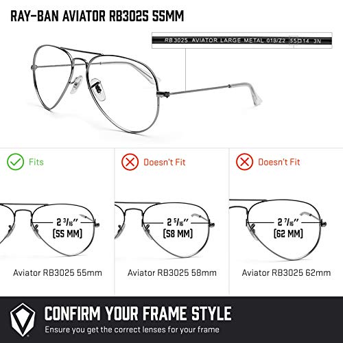 777effee3f3 Revant Replacement Lenses for Ray Ban Aviator RB3025 55mm