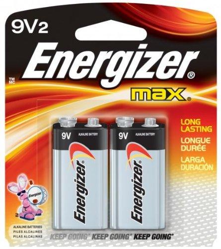 MAX Alkaline Batteries, 9V, 2 Batteries/Pack by Energizer