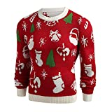 wuyimc Men Christmas Printed Winter Pullover Knitted Top Striped Sweater Outwear