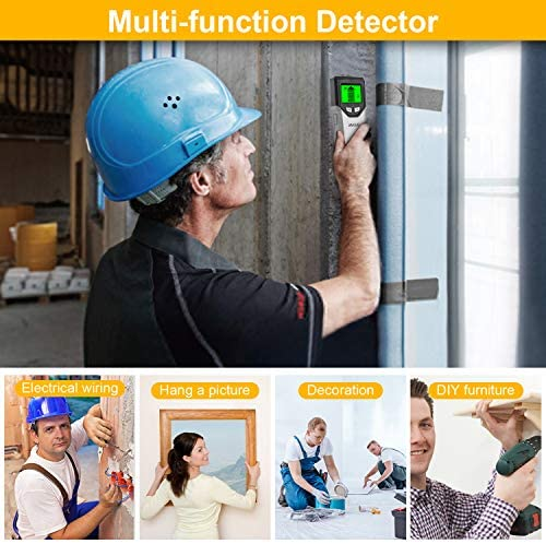 Stud Finder Wall Scanner 5 in 1Stud Detector with Intelligent Microprocessor chip, HD LCD Display and Audio Alarm, Accurate and Fast Location for the Center and Edge of Metal, Studs, AC twine