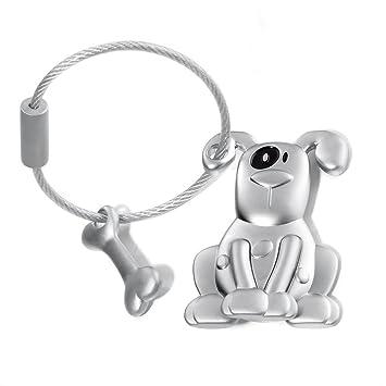 Llavero perro con hueso con una mancha negra alrededor del ojo, metal fundido, m