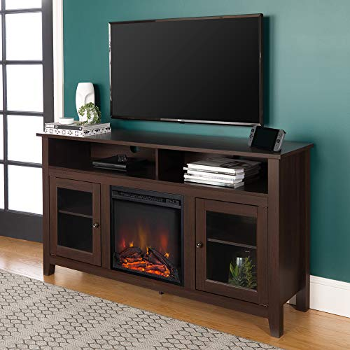 "WE Furniture Tall Rustic Wood Fireplace Stand for TV's up to 64"" Living Room Storage, 58 Inch, Espresso"