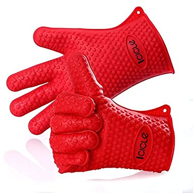 Icicle Thick Heat Resistant Silicone BBQ Grilling Oven Glove Set for Baking Smoking Frying Boiling Cooking, Pure Food Grade, Waterproof, Heavy-duty Durable,1 Size Fits All, Red