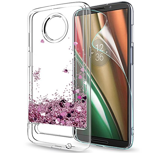 Moto Z3 Case,Moto Z3 Play Case with HD Screen Protector for Girls Women,LeYi Glitter Bling Moving Liquid Quicksand Clear TPU Protective Phone Case for Motorola Z Play (3th Generation) ZX Rose Gold