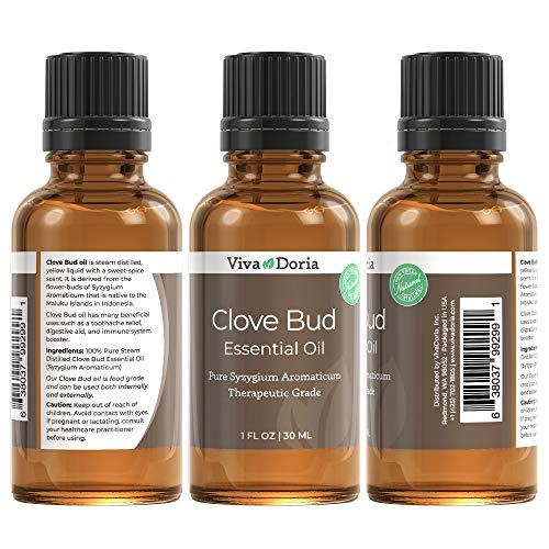Viva Doria 100% Pure Clove Bud Essential Oil, Undiluted, Therapeutic - Food Grade, 30 mL (1fl oz)