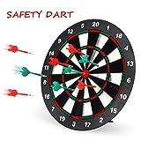 Geekper Safety Dart Board Set for kids - 16 Inch Rubber Dart Board with 6...