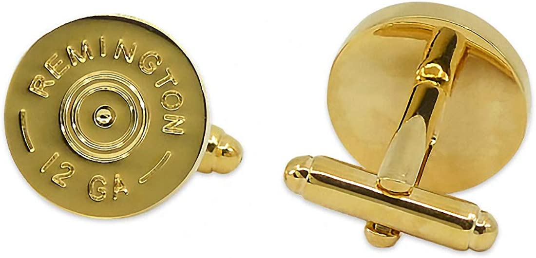 The Masonic Exchange Remington 12 Gauge Shotgun Shell Cuff Link Pair - [Gold][5/8'' Diameter]