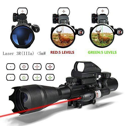 HSEE Scopes 4-16X50EG Dual Ill Optical Reticle with Holographic Unlimted R&G Dot Sight and 500m Green Laser 22&11mm Weaver/Picatinny Mount(36 Month Warranty)