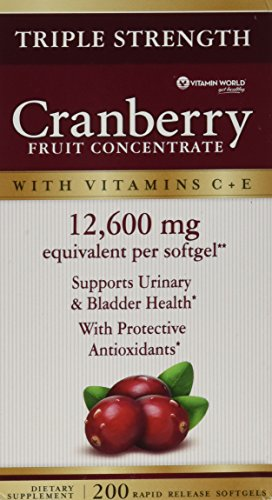 Triple Strength Natural Cranberry - Vitamin World Triple Strength Natural Cranberry Fruit Concentrate 12,600 Mg, 200 Softgels