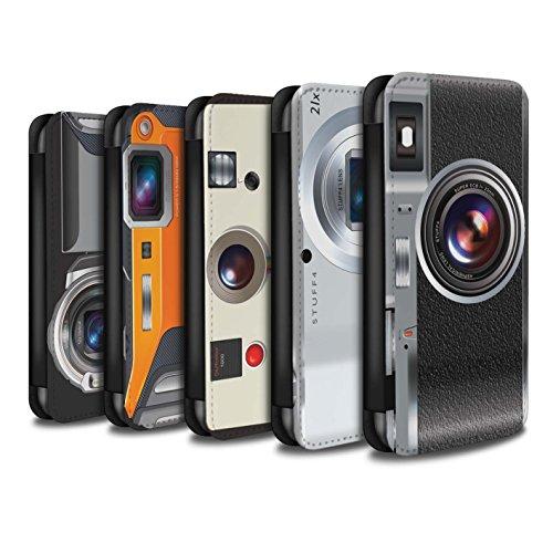 Stuff4 Coque/Etui/Housse Cuir PU Case/Cover pour Apple iPhone 8 / Pack 5pcs Design / Appareil Photo Collection