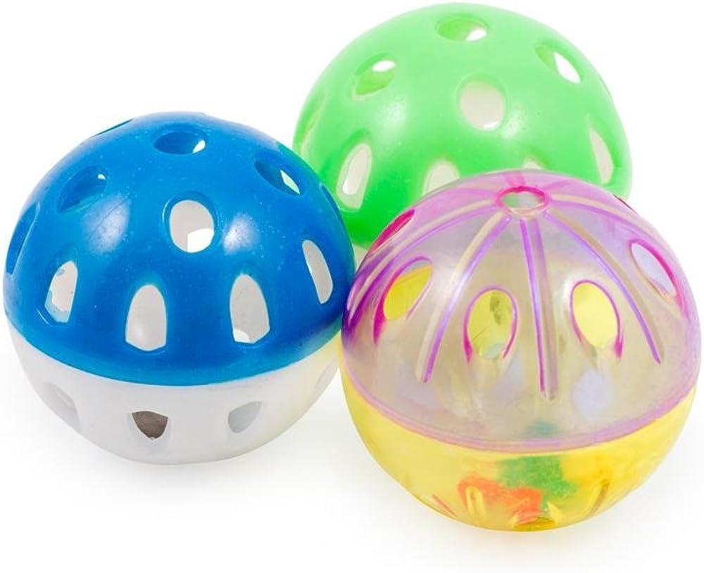 Ancol - Paquete de 3 pelotas de plástico con cascabel para gatos ...