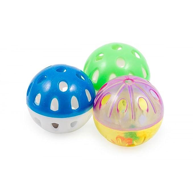 Ancol - Paquete de 3 pelotas de plástico con cascabel para gatos (Talla Única)