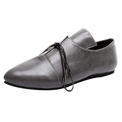 ... de Punta Cuero y sintético Señora Casual Cómodos Zapatos de Vestir Suela Blanda Zapatillas Dama Fiesta Talla Grande: Amazon.es: Zapatos y complementos