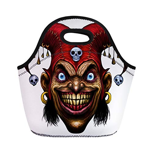 Semtomn Lunch Tote Bag Smile Laughing Angry Joker Character Head Clown Crazy Face Reusable Neoprene Insulated Thermal Outdoor Picnic Lunchbox for Men Women ()