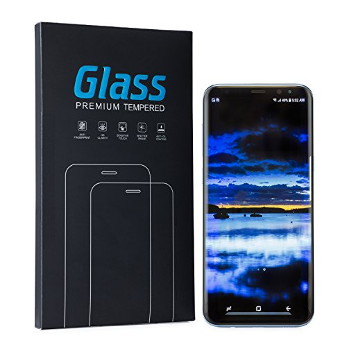 Galaxy S8 Screen Protector with Invisible Full Screen Adhesive Tempered Glass. Anti - Scratch and Anti- Fingerprint 3D Curved Tempered Glass with HD Clarity Sensitive Touch- Air Bubbles Free!