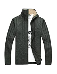 BATUOS Men's Casual Solid Knitted Zip-up Cardigans
