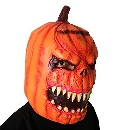 New Deluxe Novelty Halloween Scary Costume Party Props Latex Pumpkin Head Mask ()