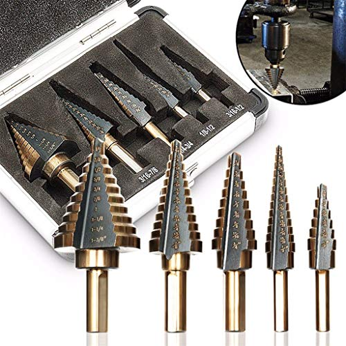 ( Cone Step Drill Clearance , 5PCS HSS Large Hole Titanium Cone Step Drill Bit Cutter Set Tools Case by Little Story)