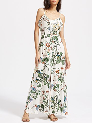 d3c6b3f0b5 Floerns Women's Sleeveless Halter Neck Vintage Floral Print Maxi Dress Small  White-Green