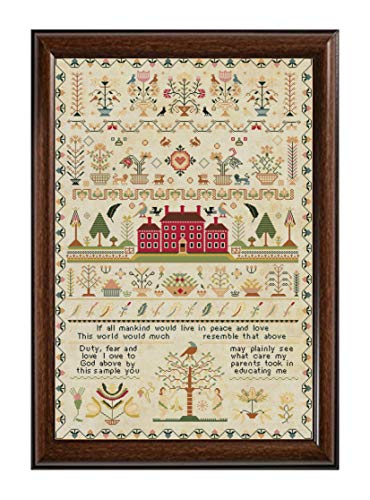 - Rare Antique 1818 Red House English Sampler Reproduction Cross Stitch Counted Chart PDF on CD Unique Easy to Make Vintage England