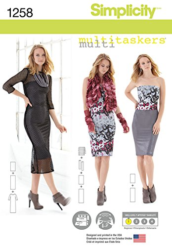Simplicity Multitaskers Beginner Pattern 1258 Misses Knit Dress, Gauntlets and Gathered Wrap, Size 4-26
