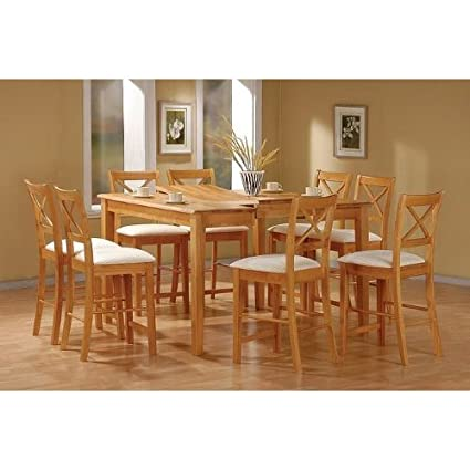 Superior 9pc Maple Finish Wood Counter Height Dining Table U0026 8 Chairs Set