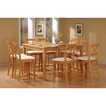 Amazon.com: 9pc Maple Finish Wood Counter Height Dining Table U0026 8 Chairs Set:  Kitchen U0026 Dining