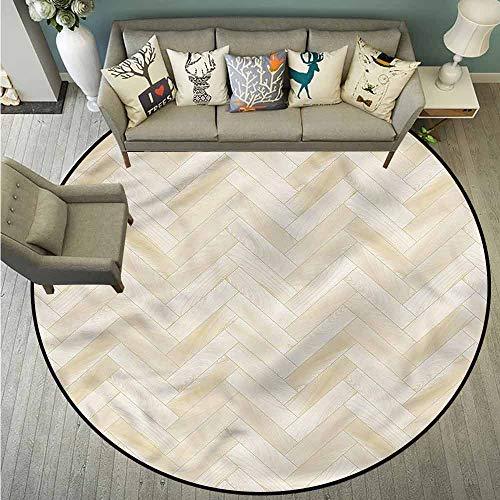 Living Room Area Round Rugs,Beige,Chevron Oak Parquet Art,All Season Universal,3'7