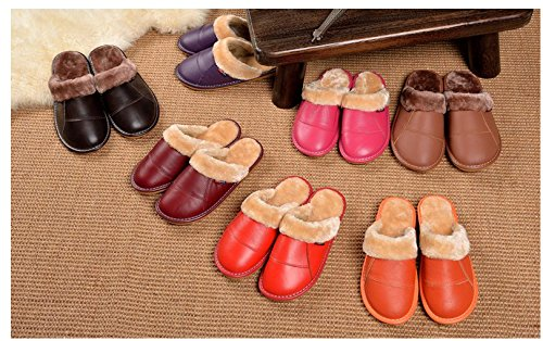 TELLW Non Wooden Slippers Home Red Men Slip Slippers Lint Floor Warm Leather Ladies Indoor rBU8arwq