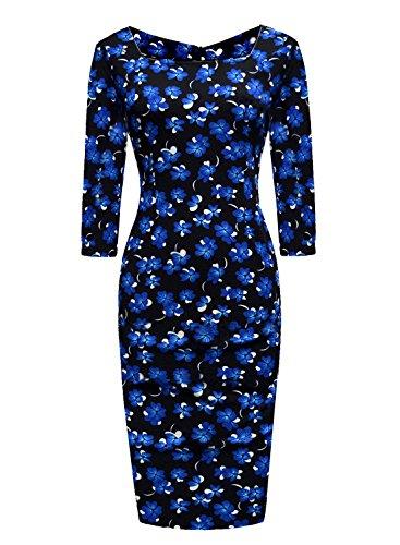 Ranphee Women's Vintage Striped Print 3/4 Sleeve Work Bodycon Sheath Pencil Dress (Womens Sheath)