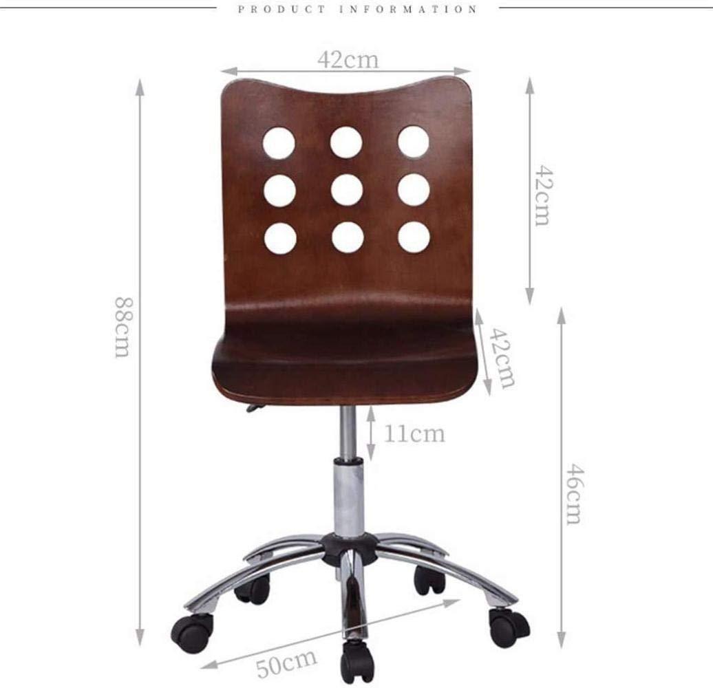 Massivt trä kontorsskrivbordsstol konferensdator svängbar stol med hjul lyftbar knästol (färg: Naturlig) Naturligt